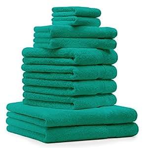 10 tlg. Badetuch Duschtuch Handtücher Set Premium Farbe Smaragd Grün 2 Duschtücher 4 Handtücher 2 Gästetücher 2 Waschhandschuhe