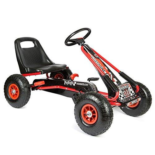 bopster- Coche De Pedales 'Go-Kart' Con Ruedas Hinchables 5-10 años- Rojo/Negro
