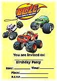 BLAZE e il mostro macchine inviti festa di compleanno–Portrait design–Decorazione per feste/accessori (confezione da 12inviti A5) WITHOUT Envelopes