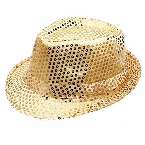 LHWY Pailletten hat Hut Dance Stage Show Performances (Fedora Herren Hut Gold)