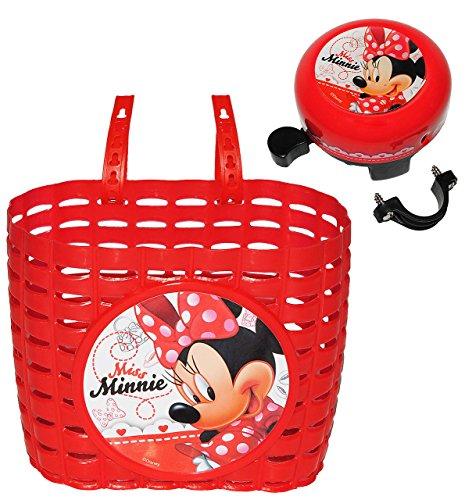 orb / Korb + Fahrradklingel - Disney Minnie Mouse - mit Befestigung für Lenker vorn - Fahrrad Maus Mickey - rot - universal auch für Roller und Dreirad Laufrad / Kinderfahrrad Kinder - Mädchen (Minnie Maus-korb)