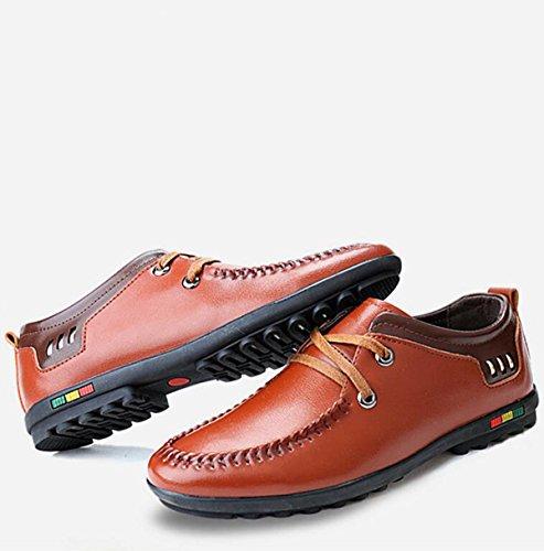 GRRONG Chaussures En Cuir Pour Hommes Loisirs Affaires Noir Marron Bleu brown