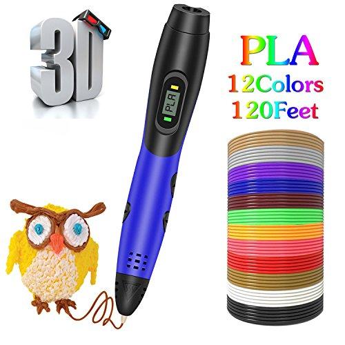 3D Stift mit PLA Filament Minen, Smiler+ Neueste 3D Printing Zeichnung Printing Pen LCD Screen Display mit 12 Farben 120 Fuß PLA Minen für Kinder Erwachsene Kunsthandwerk DIY