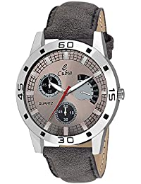 Cubia Exclusive Grey Leather Analog Watch For Boys & Mens