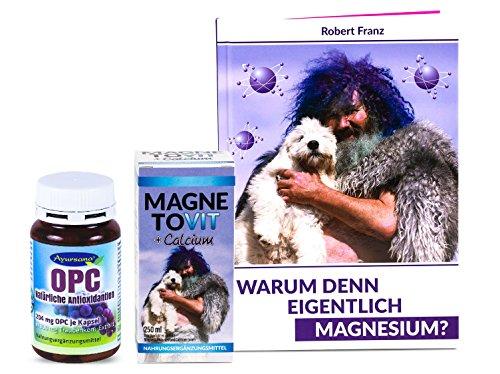 Robert Franz - Magnetovit + Calcium (250 ml) und Magnesium-Buch + Natürliches OPC Traubenkernextrakt (120 Kapseln) von Ayursana (Natürlich Vitamine Nattokinase)