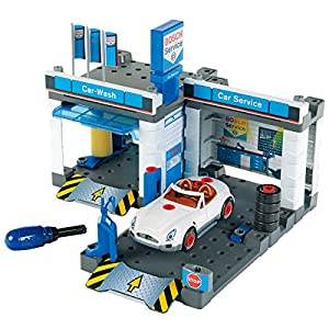 Theo Klein-8647 Bosch Car Service Taller De Coches Con Tren De Lavado, Juguete, Multicolor (Klein 8647)