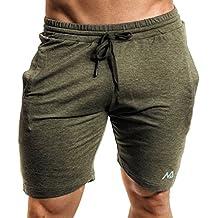 Natural Athlet Herren Fitness Shorts meliert - hochwertige kurze Jogginghose & Sport Laufhose - mit Taschen & Slim Fit ideal für Fitnessstudio & Gym - Sommer Freizeit Hose für Männer