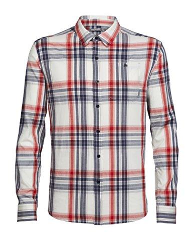 Icebreaker Herren Kompass leicht LS Shirt Tops XL Fathom Hthr/Rocket/plaid (Woven-sport-shirt Plaid)