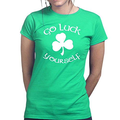 Go Luck Yourself Irish St Patrick Kobold Kleeblatt Ladies T shirt Tee (Kostüme Luck Lady)