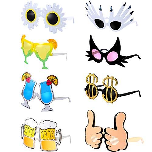 Fiada 8 Stücke Lustige Sonnenbrillen Lustige Brillen Schick Kleid Party Brille Liefert Party Kostüm Sonnenbrillen für Party Liefert, 8 Stile (Große Lustige Sonnenbrille)