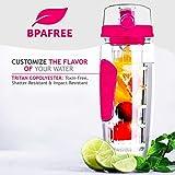 Tritan-Flasche mit Einsatz für Früchte, 900ml, sturzfest, bruchfest und BPA-frei mit gratis Detox-E-Book, ideal für Fitnessstudio, Zuhause und Büro, rose