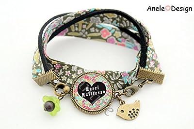 Bracelet Cadeau pour la maîtresse - Merci Maîtresse! - fleurs liberty vert oiseau École idée cadeau fin d'année