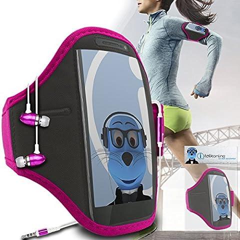 iTALKonline Motorola Droid Turbo 2 Rosa Nero regolabile Acqua / resistente all'umidità Sports GYM Jogging Correre copertura della cassa del bracciale della fascia di braccio con chiave di denaro cuffia Pocket include 3,5 millimetri di alluminio Cuffie Handsfree Mic e On / Off