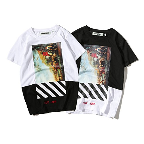 BOMOVO Herren OFF WHITE T-Shirt mit kurzem Ärmel, Rundhalsbund. Weiß