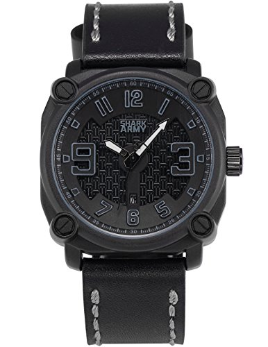 SHARK ARMY Herren Milit?r Armbanduhr Datumsanzeige Quadrat Geh?use Schwarz Lederband SAW227