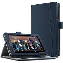 Funda para Nuevo tablet Fire HD 8 2017, Infiland Folio PU Cuero Cascara Delgada con Soporte para Nuevo Fire HD 8 2017 (7ª generación) (con Auto Reposo / Activación Función)(Azul Oscuro)