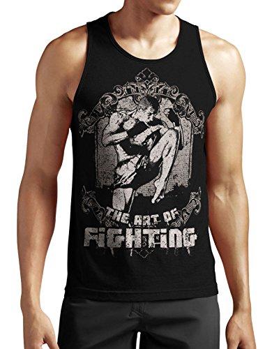 Art of Fighting Tank Top neu Fight MMA Boxen Muay Thai Sport Kick Boxing Fun War Schwarz