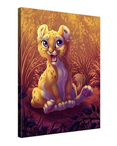 Preisvergleich Produktbild Gallery of Innovative Art - Kids Selection - Lion Cub - 75x100cm - XXL Leinwand-Druck in deutscher Marken-Qualität - Leinwand-Bilder auf Holz-Keilrahmen als moderne Wohnzimmer-Deko