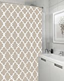 72x84 , Beige : Geometric Patterned Waterproof 100% Polyester Fabric Shower Curtain for Bathroom 72