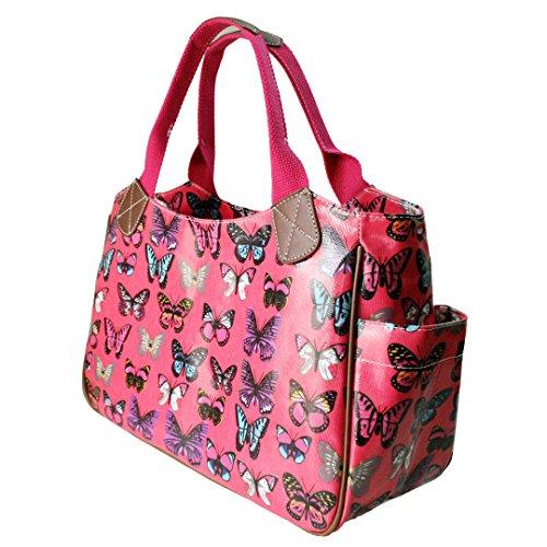 Miss Lulu Damen Schmetterling Wachstuch Shopper Schultertasche Umhängetasche Tasche Schmetterling Dunkelrosa