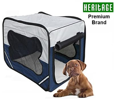 Heritage 3055 Dog Pet Crate Fabric Soft Carrier Kennel Travel Folding Cage & Free Bed