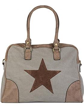 styleBREAKER Canvas Shopper Tasche mit aufgenähtem Stern, Kunstleder Applikationen, Schultertasche, Umhängetasche...