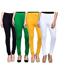 Mek-Orange Women's Cotton Churidar Legging - Pack Of 4