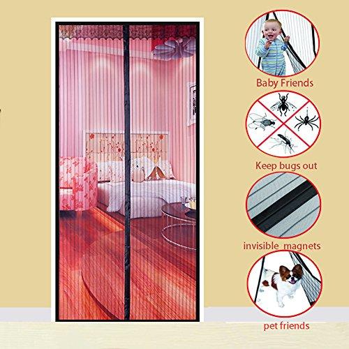 Magnet vorhang, Heavy-duty Moskito vorhang Selbstklebend Magnetischer soft garn vorhang Mesh-vorhang Hält mücken-Schwarz 90x220cm(35x87inch)