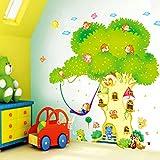 HALLOBO® XXXL Wandtattoo Wald Tier Zoo Baum Haus Waldtier Wandaufkleber Eichhörnchen AFFE Affen Wandsticker Kinderzimmer Kinder Baby