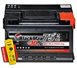 BlackMax+30% - 12 V / 75 Ah - 720 A/EN Autobatterie KFZ PKW Batterie inkl. Polfett