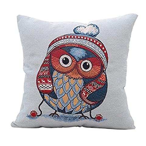 Culater® Home Car Bed Sofa Decorative Cute Printing Owl Pillow Case Cushion Cover