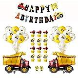 EKKONG Forniture per Feste di Compleanno, Decorazioni per Feste Compleanno,Feste di Costruzione di Happy Birthday Palloncini,Decorazioni per Feste per Ragazzi (37 PCS)