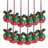 Victor's Workshop 12 Pezzi Campane di Natale Jingle, 8cm in Metallo Ornamento di Natale con Motivo a Fiocchi di Neve Ciondolo Decorazione Albero di Natale - Rosso/Verde / Bianco