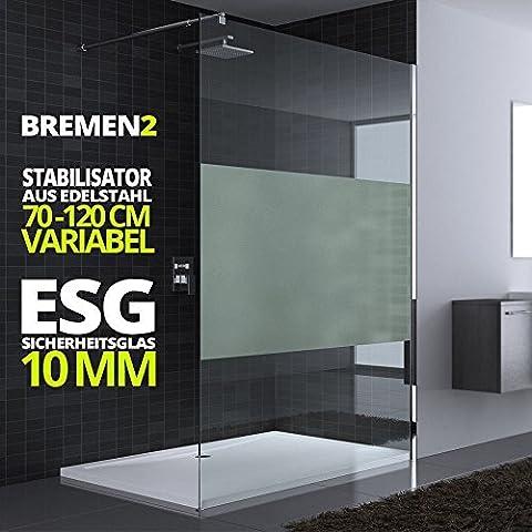 140x200 cm Luxus Duschwand aus Echtglas Bremen2MS, Stabilisator rund, 10mm ESG Sicherheitsglas Milchglas-Streifen, inkl. Nanobeschichtung