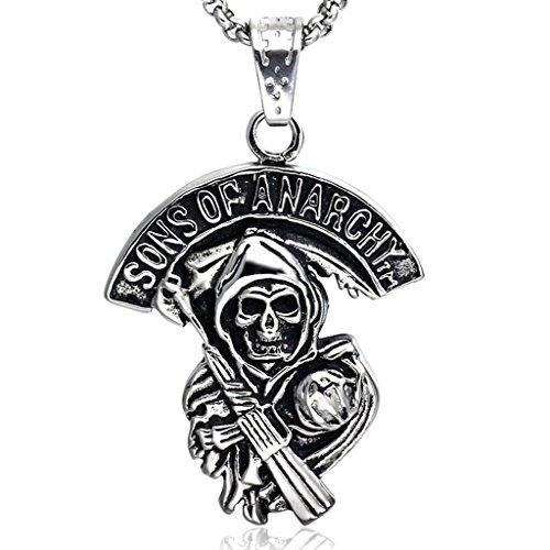 """Joyas Stayoung """"Sons of Anarchy"""" diseño de fantasmas/diseño de calavera con pistola hombre collar con colgante de acero inoxidable, de plata y"""