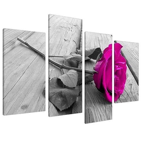 Impression sur Toile - Fleur Rose - Rose, Noir et Blanc - 4 Parties - Wallfillers Canvas 4036
