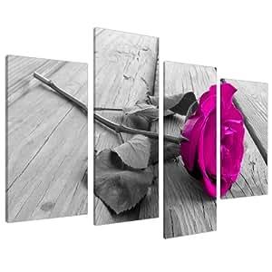 Quadro su Tela Floreale Bianco e nero con fiore rosa - Wall Art XL 130 cm Foto 4036