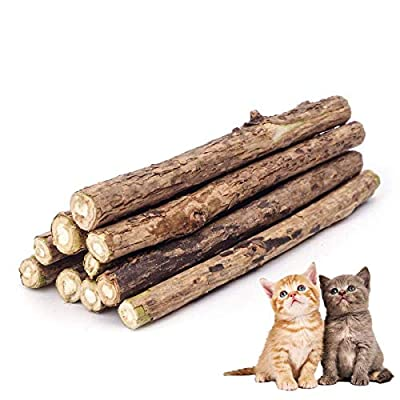 ZoiiBuy Cat Catnip Stick,Matatabi Silvervine Dental Treats Natural Wood Chew Toy Cat Teeth Cleaning Grinding Molar Sticks for Cat Kitten Kitty Play and Relax