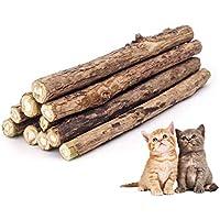 ZoiiBuy 10er Katzenminze Sticks Katzenspielzeug Matatabi Natürliche Zahnpflege Katzen Kauartikel Spielzeug für Zahn Reinigung für Gesunde Zähne für Zahnstein,Mundgeruch
