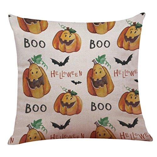 TWIFER Happy Halloween Leinen Kissenbezug Startseite Zierkissenbezüge Sofakissen Fall Home Deko Kissenhülle 45x45cm (45 x 45 cm, D)