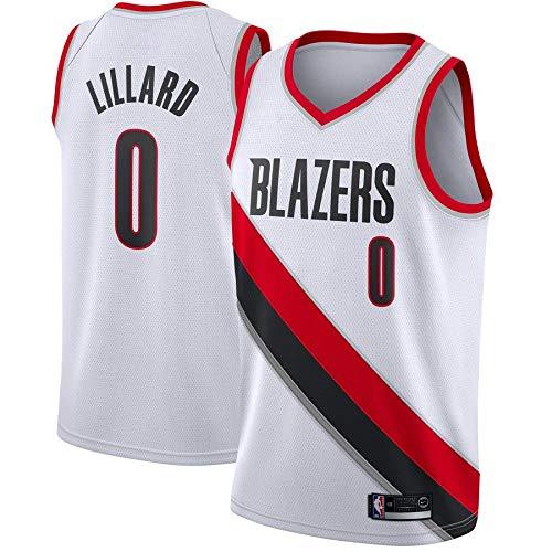 trikotjerseyNBA Damian Lillard - Portland Trail Blazers #0 Trikot Jersey Stickerei Anzug Sommer Basketball Anzug Hemd, Trägershirt Fitness (Weiß, M)