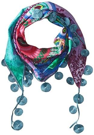 Desigual - triangulo carry - foulard - imprimé - femme - bleu (azul marea) - taille unique