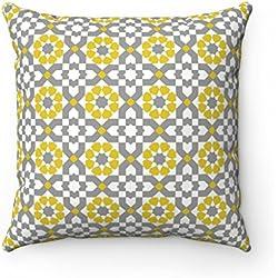 Funda de cojín para usar al aire libre, estampado geométrico, diseño marroquí, cojín decorativo para sofá, cama, regalo o hogar, color gris y amarillo mostaza, 43 x 43 cm