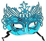 Inception Pro Infinite Máscara para Disfraz - Traje - Carnaval - Halloween - Teatro - Noble - Veneciana - Brillo - Celeste - Adultos - Mujer - Niña