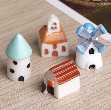 Generic comme la photo: Mini de construction Maison miniatures Terrarium Bouteille de nain de jardin Moss Home Fairy Église Décor Moulin à vent miniature pour jardin Zakka