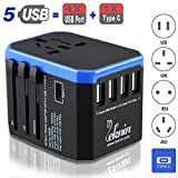 Leknin Universal Reiseadapter Ladegerät mit USB Type C - Reisestecker mit 5 USB für Weltweit Steckdosen US UK EU AU, Wechselspannung & Überspannungsschutz, 4 USB A für Schnelles Aufladen (Blau)