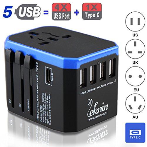 Universal Reiseadapter Ladegerät mit USB Type C - Leknin Reisestecker mit 5 USB für Weltweit Steckdosen US UK EU AU, Wechselspannung & Überspannungsschutz, 4 USB A für schnelles Aufladen (Blau) (Aufladen)