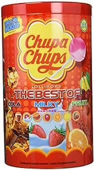 Chupa Chups - Caja de 100 caramelos, surtido: sabores aleatorios (Cola, fresa