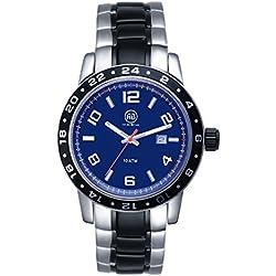 aibi Herren Wasserdicht Multifunktions Edelstahl leicht Lesen Armbanduhr mit blauem Zifferblatt