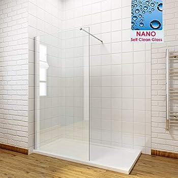 Black Walk In Shower Enclosure Wet Room Screen/&300mm Flipper Glass Panel Tray
